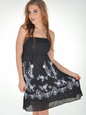 Платье пляжное черное с вышивкой | 5363138