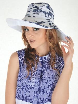 Шляпа бело-синяя с принтом | 5363146