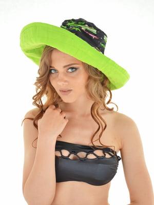 Шляпа черно-салатовая с принтом | 5363152