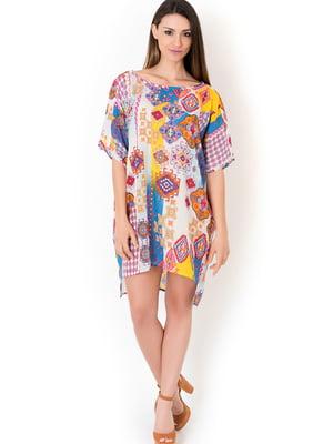 Платье пляжное белое с принтом | 5363162