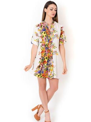 Туника пляжная белая с цветочным принтом | 5363167