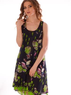 Платье пляжное черное с принтом | 5363180