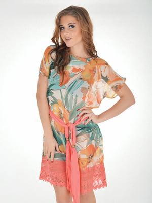 Платье пляжное в цветочный принт | 5363211