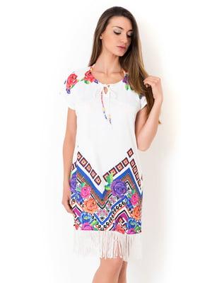 Платье пляжное белое с принтом | 5363213