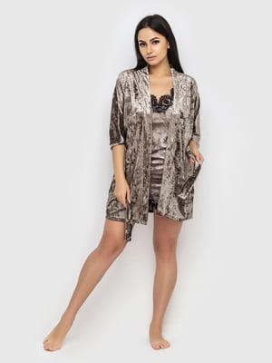Комплект піжамний: майка, шорти і халат | 5363903