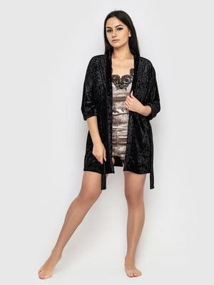 Комплект піжамний: майка, шорти і халат | 5363904