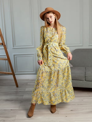 Сукня жовта з квітковим принтом   5364534