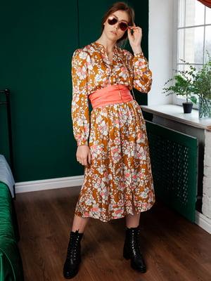 Сукня гірчичного кольору з принтом   5364539