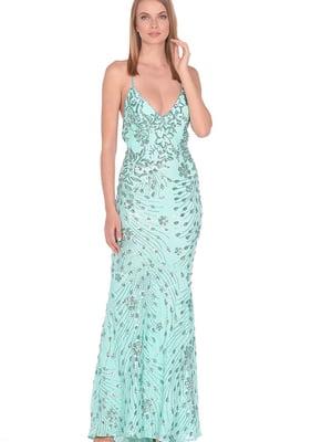 Сукня м'ятного кольору в принт | 5348916