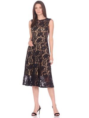 Сукня чорна в принт | 5348936