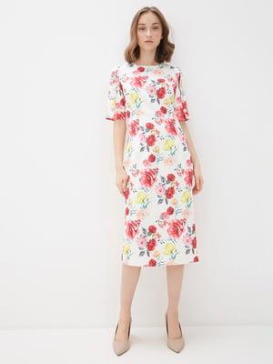 Сукня біла в квітковий принт | 5348938