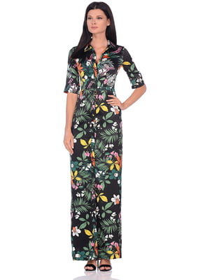 Сукня чорна в квітковий принт | 5348950