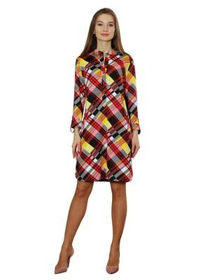 Платье красно-желтое в клетку   5366410