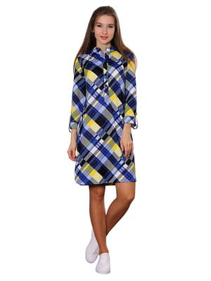 Сукня синьо-жовта в клітинку | 5366411