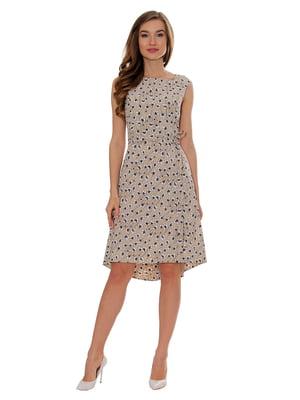 Платье бежевое в принт   5366423