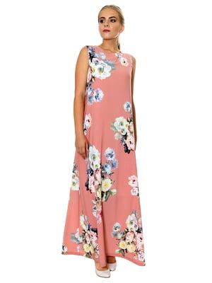Платье розовое в принт | 5366431