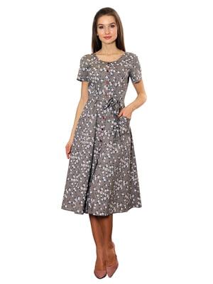 Сукня кольору капучино в принт | 5366443