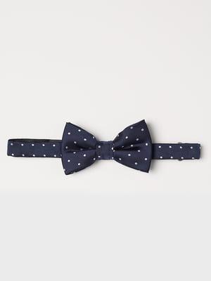 Краватка-метелик темно-синя в горох | 5366554