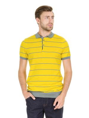 Футболка-поло жовта в смужку | 5365713