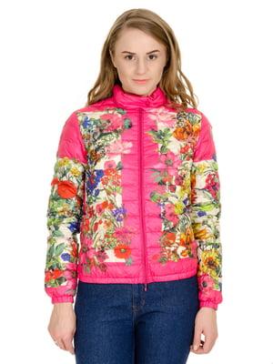 Куртка малинового цвета с цветочным принтом | 5365971