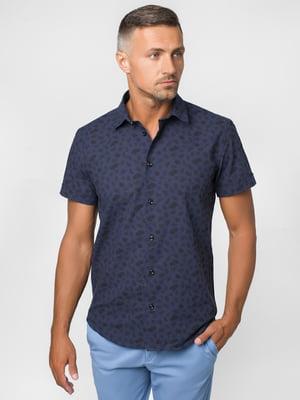 Рубашка темно-синяя с принтом | 5310537