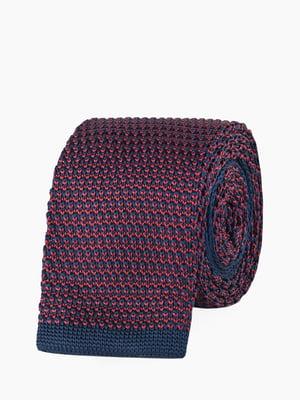 Галстук сине-бордовый в узорчатую полоску   5310762