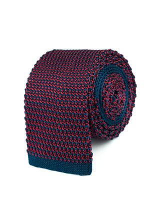 Галстук сине-бордовый в узорчатую полоску   5366144