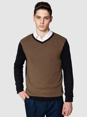 Пуловер черно-коричневый в гусиную лапку | 5366212