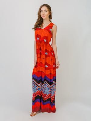 Платье кораллового цвета в принт | 5366313