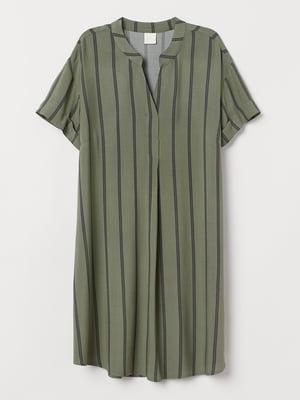 Сукня кольору хакі в смужку | 5371981