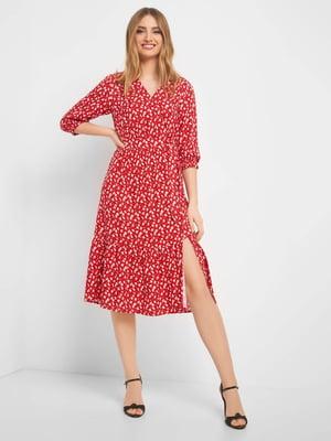 Платье красное в цветочный принт | 5368717