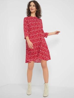 Сукня червона з квітковим принтом | 5368724