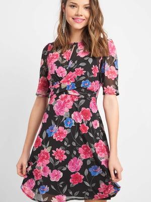 Платье черное в цветочный принт | 5368740