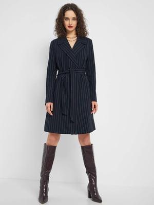 Пальто темно-синє в смужку | 5368939