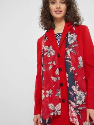 Шарф червоно-чорний з квітковим принтом | 5368997