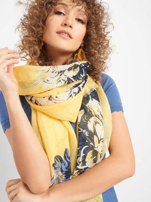 Шарф желтый с цветочным принтом | 5369022