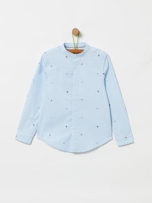 Рубашка голубая в принт | 5371991