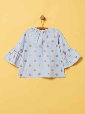 Блуза голубая в горох | 5372116