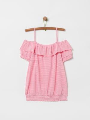 Блуза рожева в смужку | 5372373