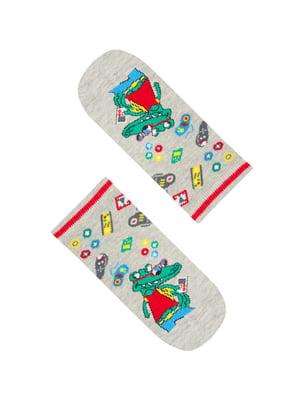 Шкарпетки сірі в принт | 5372552