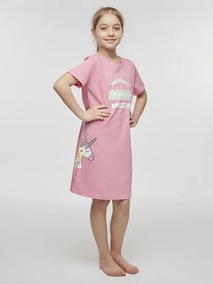 Сорочка нічна рожева в принт | 5372689