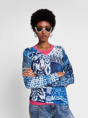 Пуловер синій в принт | 5369055