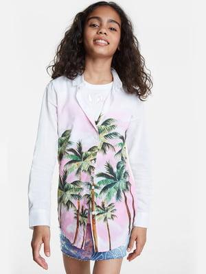 Рубашка белая в принт | 5369114