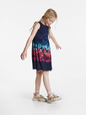 Платье синее в принт | 5369126
