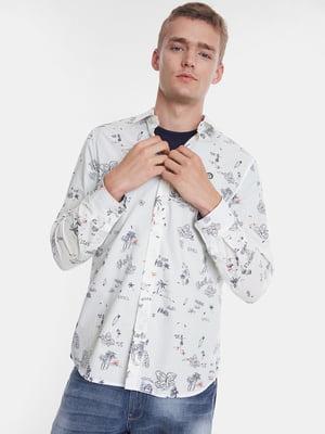 Рубашка белая в принт | 5369145