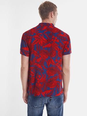 Рубашка сине-красная в принт | 5369146