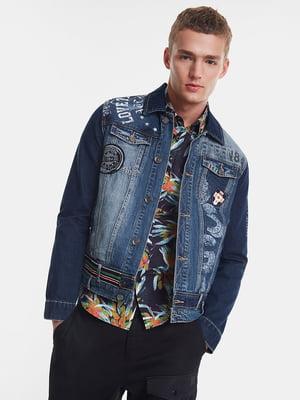 Куртка синяя с декором | 5369160