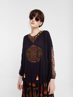 Блуза чорна в принт | 5369213
