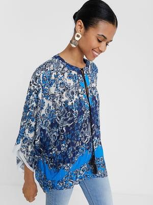 Блуза синя в принт | 5369219