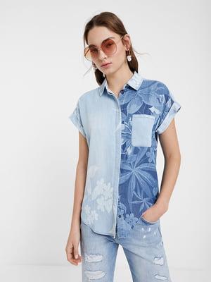 Рубашка голубая в принт   5369221